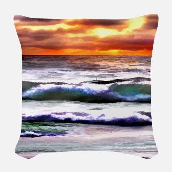 Sunset Over the Ocean Woven Throw Pillow