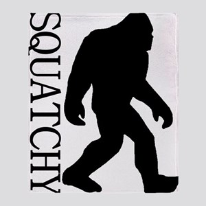 silhouette squatch black Throw Blanket