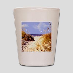 A Peek Through the Dunes to the Ocean Shot Glass