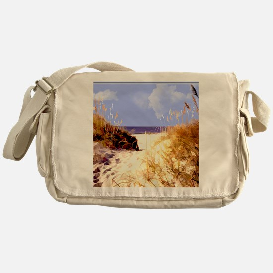 A Peek Through the Dunes to the Ocea Messenger Bag