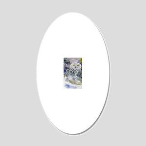 Snowy Owl 20x12 Oval Wall Decal