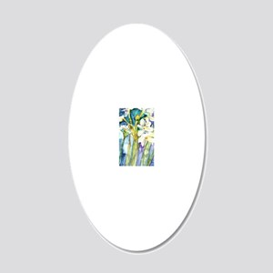 Paperwhites Teal 20x12 Oval Wall Decal