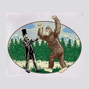 abe lincoln squatch Throw Blanket