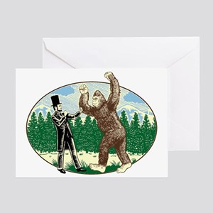 abe lincoln squatch Greeting Card