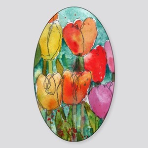 Tip Toe Tulips Sticker (Oval)