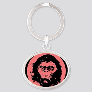 Orang Pendek black pink Oval Keychain