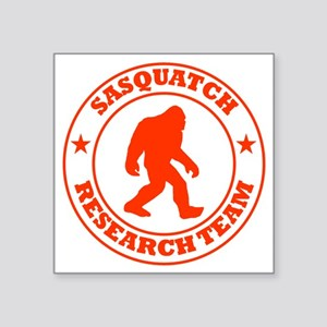 "sasquatch research team red Square Sticker 3"" x 3"""