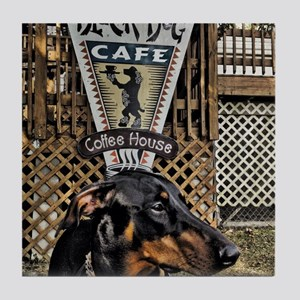 Black Dog Cafe II Tile Coaster