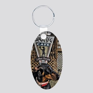 Black Dog Cafe II Aluminum Oval Keychain