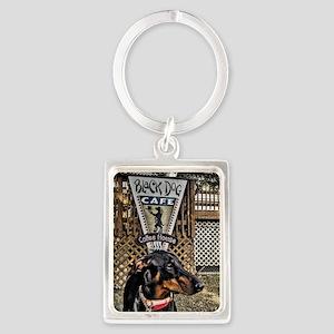 Black Dog Cafe II Portrait Keychain