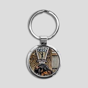 Black Dog Cafe II Round Keychain