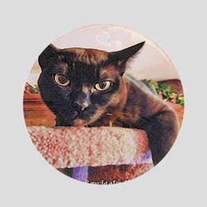 Burmese Cat/Wood Cut Style Round Ornament