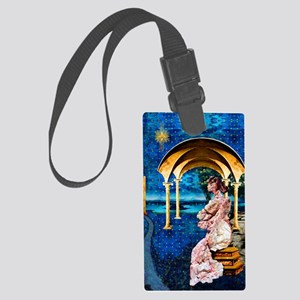 Stone Mother and Child oval Large Luggage Tag