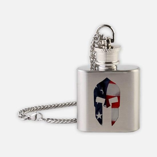 Oval - Vertical - Spartan Flag Flask Necklace