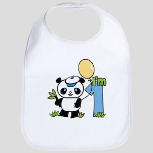 Lil' Panda Boy First Birthday Bib