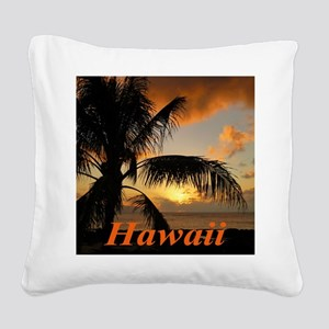 Sunset North Shore Oahu Square Canvas Pillow