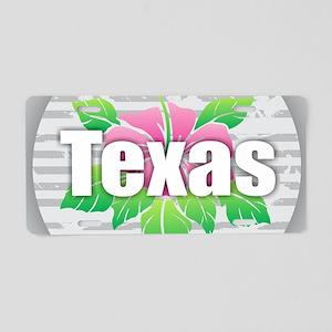 Texas Hibiscus Aluminum License Plate