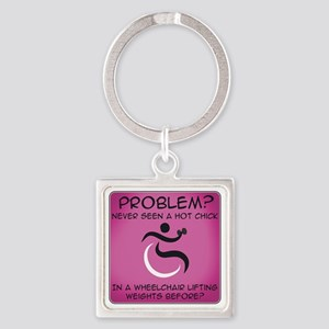 Wheelchair Square Keychain