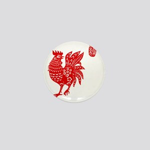 Asian Rooster Mini Button