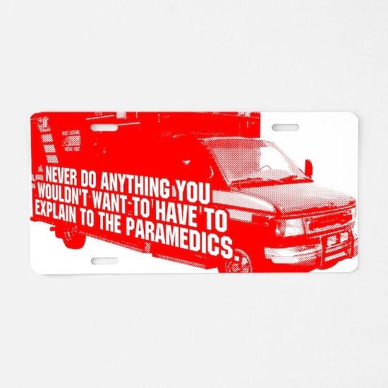 Paramedics Aluminum License Plate