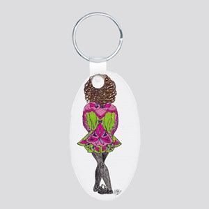Irish Dancer in Green  Pink Aluminum Oval Keychain