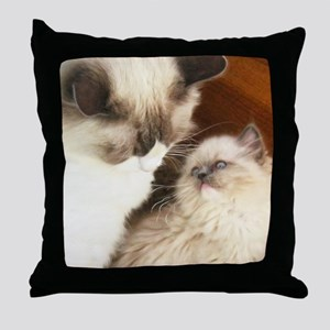 Ragdoll Mother and Child round2 Throw Pillow