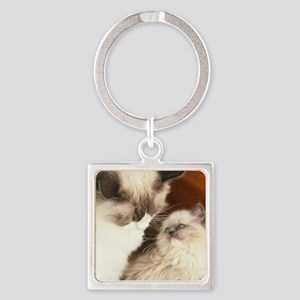 Ragdoll Mother and Child round2 Square Keychain