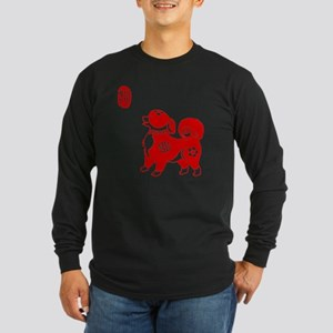Asian Dog Long Sleeve Dark T-Shirt