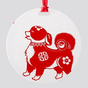 Asian Dog Round Ornament