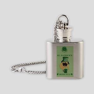Funny St. Patricks Irish Pug Flask Necklace