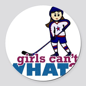 Girl Hockey Player Round Car Magnet