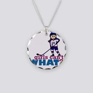 Girl Hockey Player Necklace Circle Charm