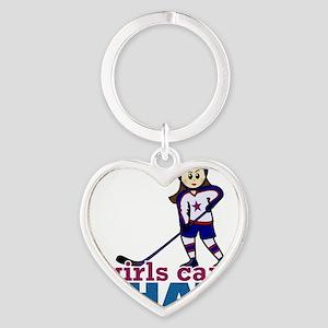 Girl Hockey Player Heart Keychain
