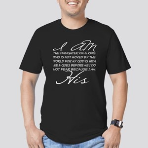 I am His script letter Men's Fitted T-Shirt (dark)