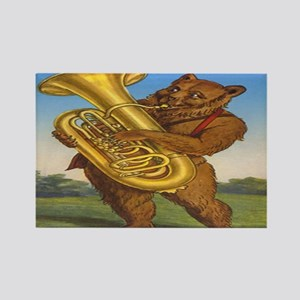 tuba playing bear-2 Rectangle Magnet