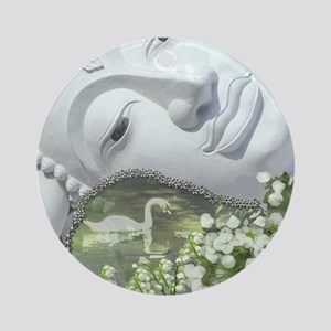 In the Garden - Quan Yin Flowers Round Ornament