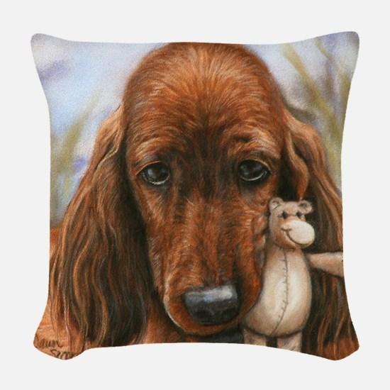 Irish Setter Pup by Dawn Secor Woven Throw Pillow