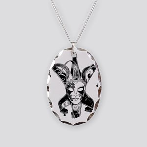 Venetian Masquerade Carnaval M Necklace Oval Charm