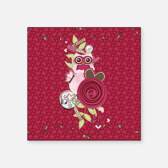"Cute Owl and Flower Square Sticker 3"" x 3"""