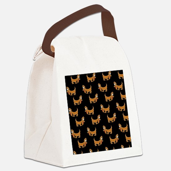 Cute Dachshund Cartoon Puppy Canvas Lunch Bag