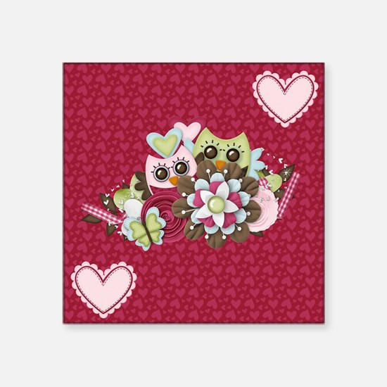"Cute Owl and Hearts Square Sticker 3"" x 3"""