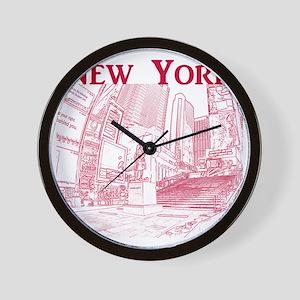 NewYork_10x10_DuffySquare_Red Wall Clock