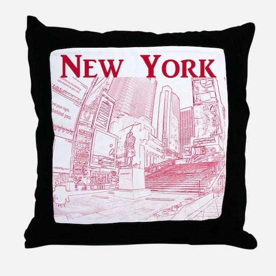 NewYork_10x10_DuffySquare_Red Throw Pillow