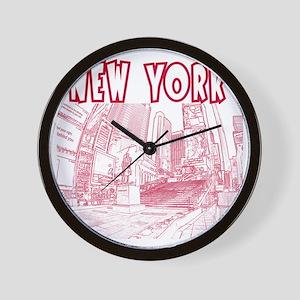 NewYork_12x12_DuffySquare_Red Wall Clock