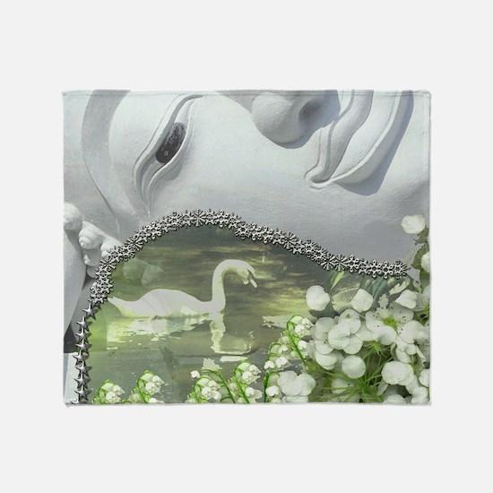 In the Garden - Quan Yin Flowers Throw Blanket