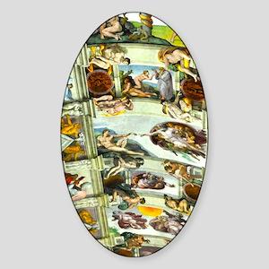 Sistine Chapel Ceiling 4X6 Sticker (Oval)
