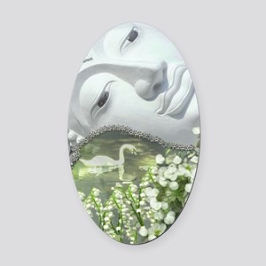 In the Garden - Quan Yin Flowers Oval Car Magnet