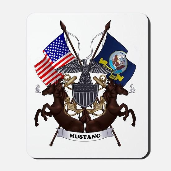 Navy Mustang Emblem Mousepad