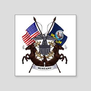 "Navy Mustang Emblem Square Sticker 3"" x 3"""
