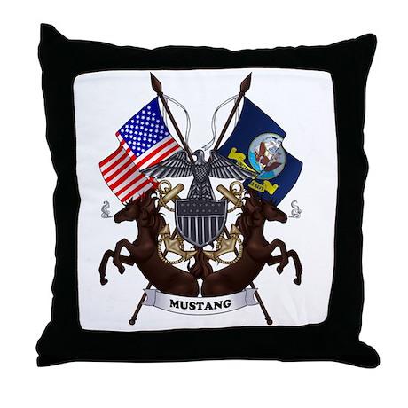 Navy Mustang Emblem Throw Pillow By Mustang Logo